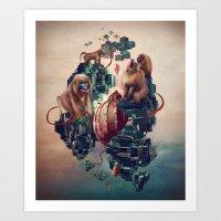 monkey temple Art Print