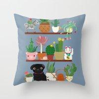 Cactus Shelf with Pug Throw Pillow