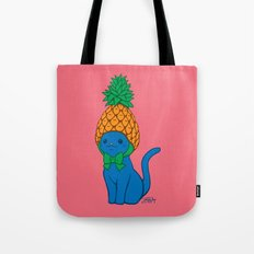 Blue Cat Wears Pineapple Hat Tote Bag