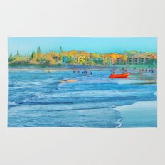 Abstract summer fun and surf rescue boat Rug