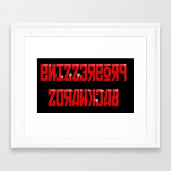 Progressing Backwards (reversed out) Framed Art Print