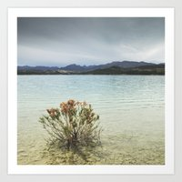 Storm at the mountains. Bermejales lake. Retro Art Print