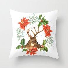 Hostess Gift, Black Friday, Christmas art, reindeer print Throw Pillow