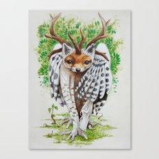 Chimere Harfang Renard Cerf & Bouleau Canvas Print