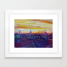 Munich Skyline with Burning Sky at Sunset Framed Art Print