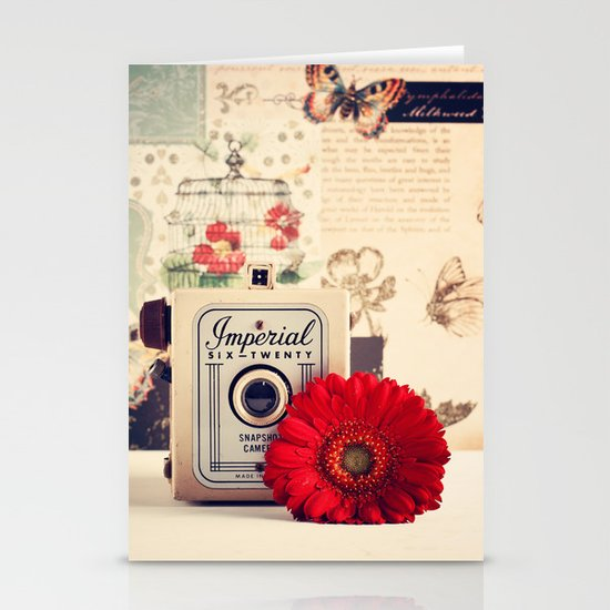Retro Camera and Red Flower (Retro and Vintage Still Life Photography) Stationery Card