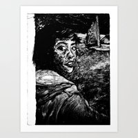 Monoprint Of Girl Art Print
