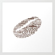 Typographic Coffee Bean Art Print