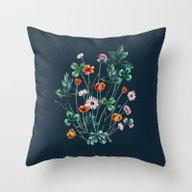 Meadowsweet II On Denim … Throw Pillow