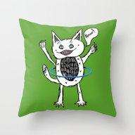 Monster Hula Hoop Throw Pillow