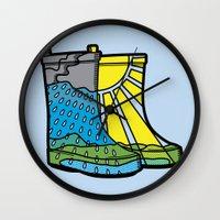 Rainy Day Boots Wall Clock