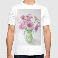 Pink Gerberas In A Vase  Mens Fitted Tee White SMALL