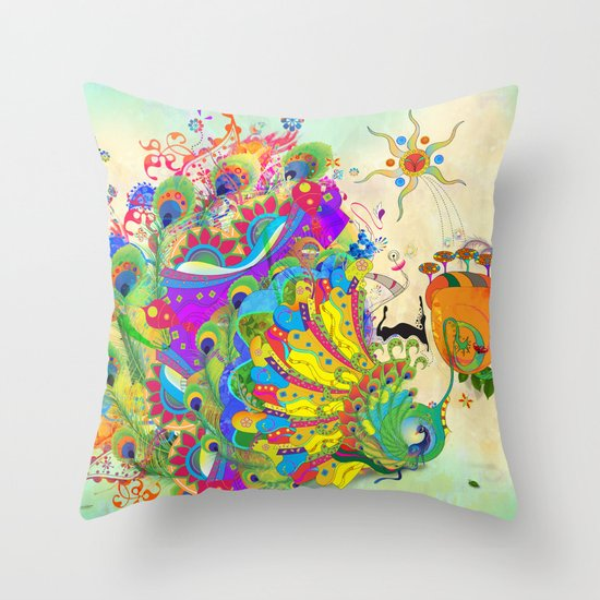 The Peacock Dance Throw Pillow
