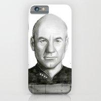 Captain Picard Watercolor Portrait iPhone 6 Slim Case