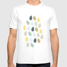 rain drops pattern SMALL Mens Fitted Tee White