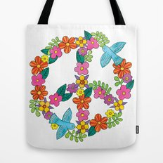 Flower Peace Sign Tote Bag