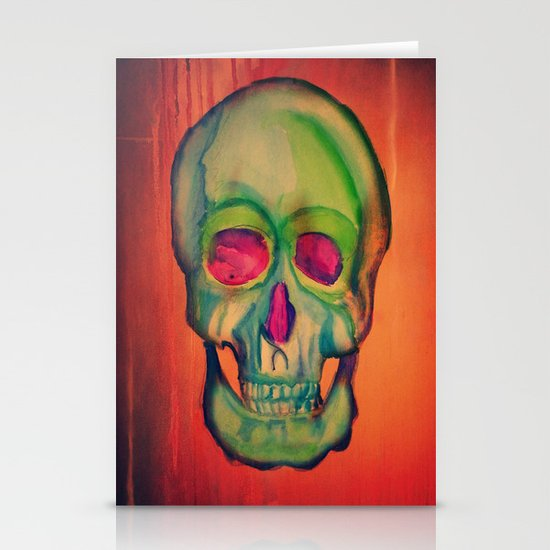 Watercolor skull/Green Stationery Card