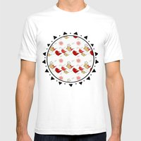 Cute Birds Pattern Mens Fitted Tee White SMALL