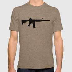 AR15 in black silhouette on white Mens Fitted Tee Tri-Coffee SMALL