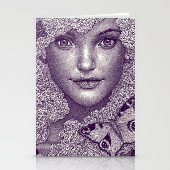 Girl with butterfly Stationery Card