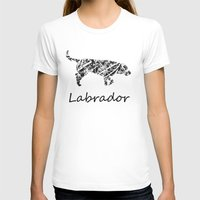 Labrador Scribble Womens Fitted Tee White SMALL