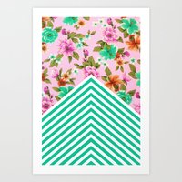 Tropical Floral Chevron Art Print