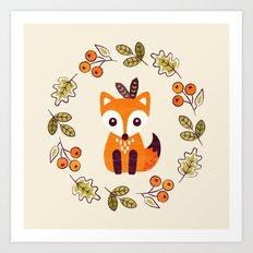 LITTLE FOX WITH AUTUMN BERRIES Art Print