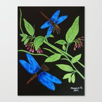 Blue Dragonflies Canvas Print