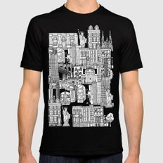 New York pink Black Mens Fitted Tee SMALL