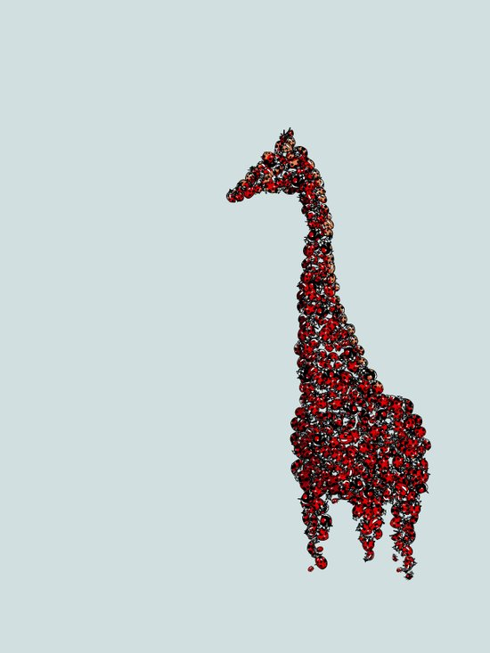 Red Giraffe Art Print
