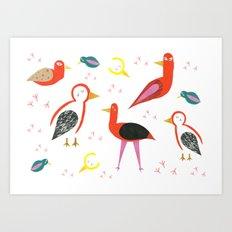 Birds and footprints Art Print