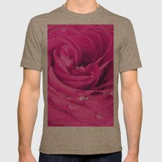 Pink rose with water drops Mens Fitted Tee Tri-Coffee SMALL