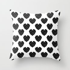 Hearts Black And White G… Throw Pillow