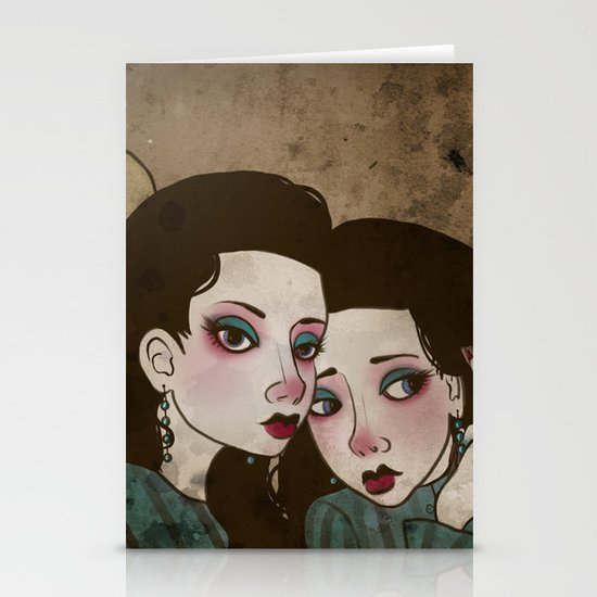 Twin Princesses Stationery Card