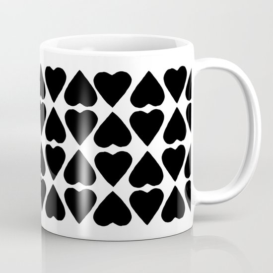 Diamond Hearts Repeat Black Mug