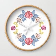 Hand Drawn Floral Wreath Design Wall Clock