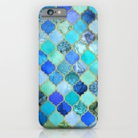 iPhone Cases featuring Cobalt Blue, Aqua & Gold Decorative Moroccan Tile Pattern by micklyn