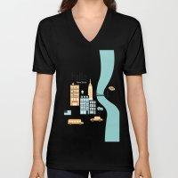 Hello New York - retro manhattan NYC icons illustration Unisex V-Neck