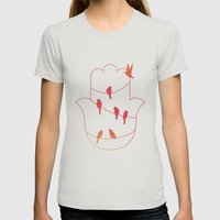 Hamsa Hand II Womens Fitted Tee Silver SMALL