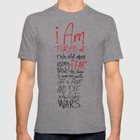 Tired of Wars Mens Fitted Tee Tri-Grey SMALL