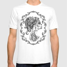 Sugar Skull Girl Cameo Mens Fitted Tee SMALL White
