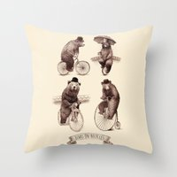Bears on Bicycles Throw Pillow