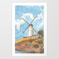Windmill Against A Blue … Art Print