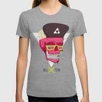 Hell Yeah Skull 2 Womens Fitted Tee Tri-Grey SMALL