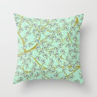 Mint Flowers Throw Pillow