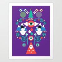 Christmas - Purple Pop Art Print