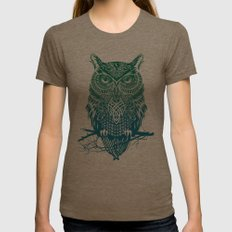 Warrior Owl Womens Fitted Tee Tri-Coffee SMALL