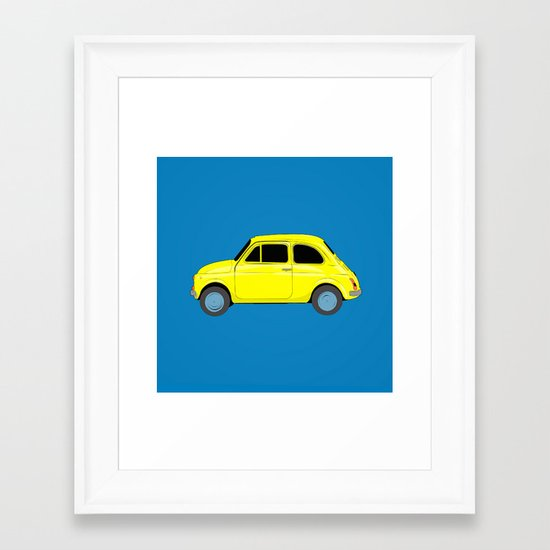 A tiny Fiat (blue) Framed Art Print