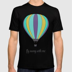 FLY AWAY WITH ME - HOT AIR BALLOON SMALL Black Mens Fitted Tee