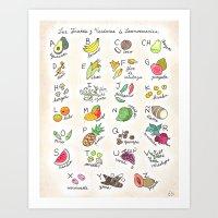 Las Frutas y Verduras de Latinoamerica Art Print